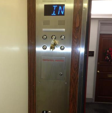 elevator door panel with keys